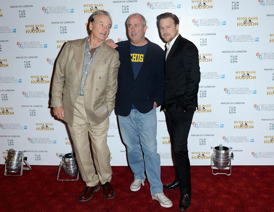 "LONDON, ENGLAND - OCTOBER 16:  Actor Bill Murray, director Roger Michell and actor Samuel West attend the ""'Hyde Park on Hudson"" premiere during the 56th BFI London Film Festival at the Empire Leicester Square on October 16, 2012 in London, England.  (Photo by Samir Hussein/Getty Images for BFI)"