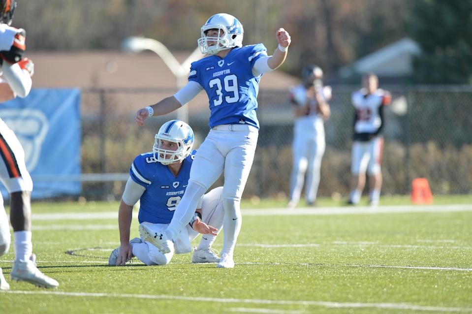 Cole Tracy kicks a field goal for Assumption College in 2017. (Photo courtesy of Assumption College)