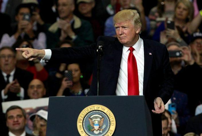 President Trump addresses the crowd earlier this week during a rally in Louisville, Ky.