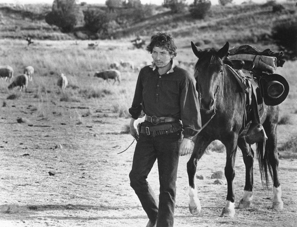 <p>Bob Dylan appears in a film still for <em>Pat Garrett & Billy the Kid</em> (for which he also did the soundtrack), which was released in May 1973 and filmed in Durango, Mexico.</p>