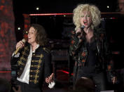 Brandi Carlile, left, and Cyndi Lauper perform on stage at the Pre-Grammy Gala And Salute To Industry Icons at the Beverly Hilton Hotel on Saturday, Jan. 25, 2020, in Beverly Hills, Calif. (Photo by Willy Sanjuan/Invision/AP)