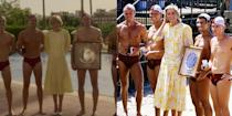 <p>Surrounded by men in speedos, both Emma Corrin in <em>The Crown </em>and Princess Diana on her royal tour of Australia looked demure in a perfectly replicated pale yellow mid-length smock dress. </p>