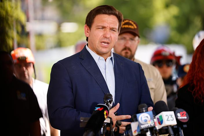 Governor Ron DeSantis will skip Donald Trump's political rally in Florida on Saturday night  (Getty Images)