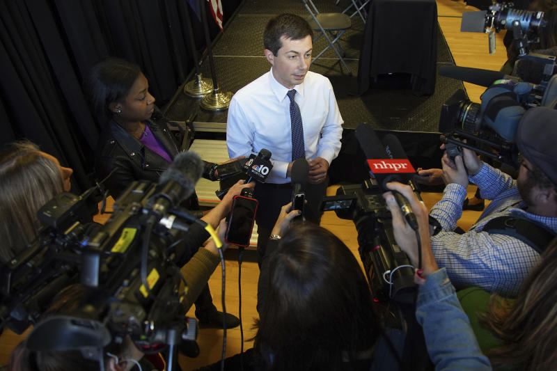 Democratic presidential candidate South Bend, Ind., Mayor Pete Buttigieg speaks to the media following a panel discussion at a campaign stop, Thursday, Oct. 24, 2019, in Nashua, N.H. (AP Photo/Mary Schwalm)
