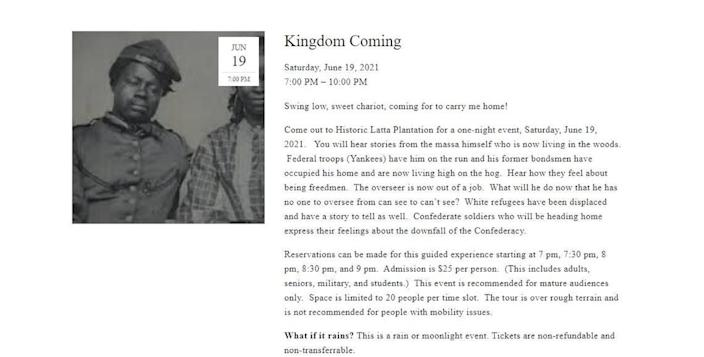 A description of a Juneteenth event at Latta Plantation has now been removed.