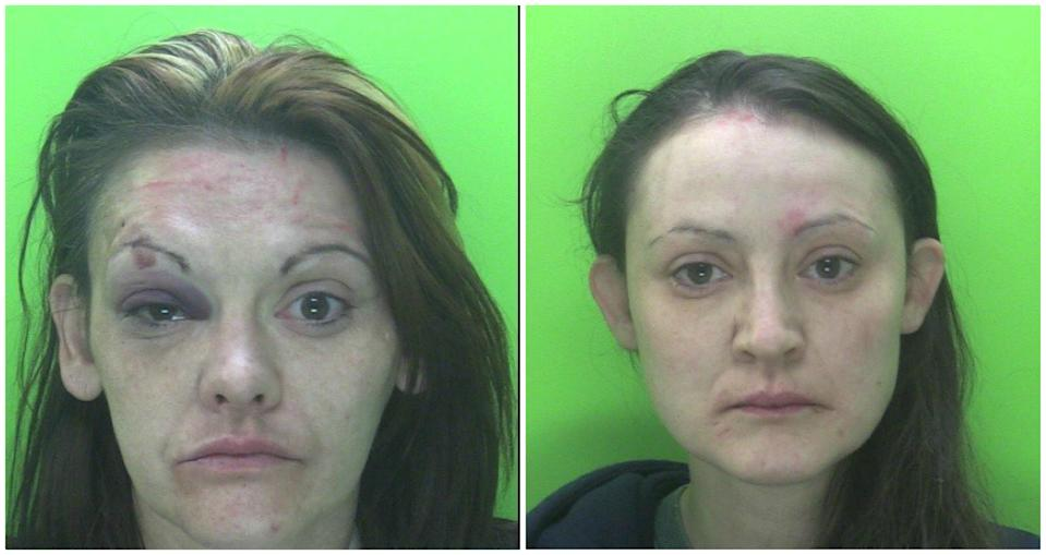 L-R - Danielle Pryor and Sarah Pryor. See SWNS story SWMDsisters; Two women who assaulted four police officers after being challenged for breaching Covid-19 regulations have been sentenced to a combined total of ten months in prison. Police Constables Oivind Merrygold and David Hauton were carrying out regular patrols in Retford on Monday (27 April 2020) when they received a call about a disturbance in the Churchgate area at around 11.25pm. On attendance they recognised 34-year-old Danielle Pryor and 33-year-old Sarah Pryor, both of Lords Court in Retford, having spoken with them earlier in the evening about anti-social behaviour, warned them about the coronavirus restrictions and told them to go straight home.