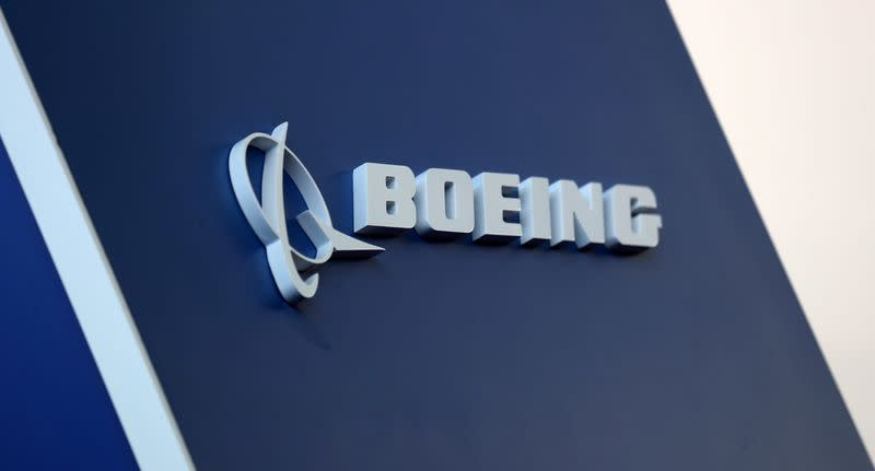 FILE PHOTO: The Boeing logo is pictured at the LABACE fair in Sao Paulo
