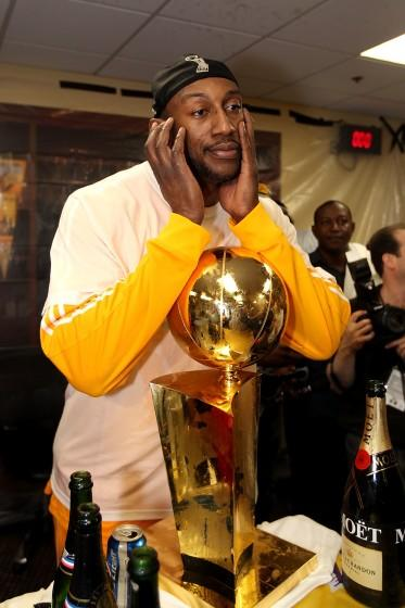 """D.J. Mbenga celebrates the Lakers' victory in the 2010 NBA Finals. <span class=""""copyright"""">(Christian Petersen / Getty Images)</span>"""