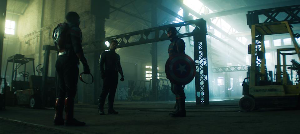 (L-R): Falcon/Sam Wilson (Anthony Mackie), Winter Soldier/Bucky Barnes (Sebastian Stan) and John Walker (Wyatt Russell) in Marvel Studios' THE FALCON AND THE WINTER SOLDIER exclusively on Disney+. Photo courtesy of Marvel Studios. ©Marvel Studios 2021. All Rights Reserved.