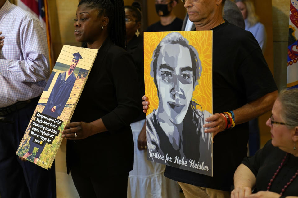 Protesters gather in the State Capitol rotunda ahead of the debate to urge the Minnesota House to reject the compromise and pass tougher measures in police accountability in the Public Safety Bill, Tuesday, June 29, 2021, in St. Paul, Minn. (AP Photo/Jim Mone)