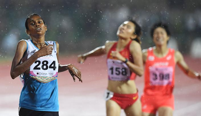 Indian athlete Chitra P.U competes in the women's 1500m event during the second day of the 22nd Asian Athletics Championships at Kalinga Stadium in Bhubaneswar on July 7, 2017. Chitra won the gold medal in the women's 1500m event. (Photo by DIBYANGSHU SARKAR/AFP/Getty Images)