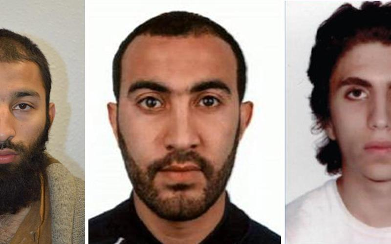 The three London attackers, left to right, Khuram Shazad Butt, Rachid Redouane and Youssef Zaghba - Credit: LONDON METROPOLITAN POLICE/ HANDOUT