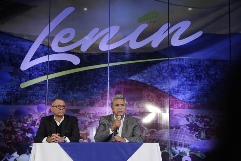 "Ecuador's President Elect Lenin Moreno, right, sits next to his Vice-President Jorge Glas, at a press conference after their electoral victory in Quito, Ecuador, Tuesday, April 4, 2017. Juan Pablo Pozo, president of the electoral council, announced the razor-thin election win by Moreno in a nationwide broadcast on radio and television. He said the results were ""official, irreversible"" with 99.65 percent of the votes counted. (AP Photo/Dolores Ochoa)"