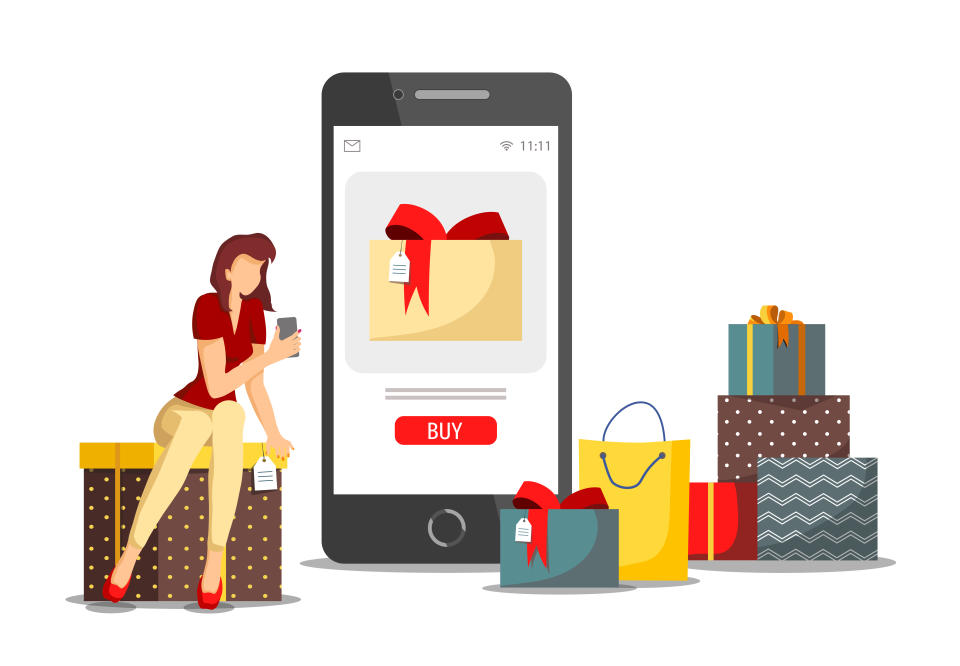 Holiday gifts, Shopping application, Mobile apps, Store, E-shop and E-commerce concept. Woman with phone choosing gifts. Vector illustration for poster, banner, flyer, brochure, presentation.
