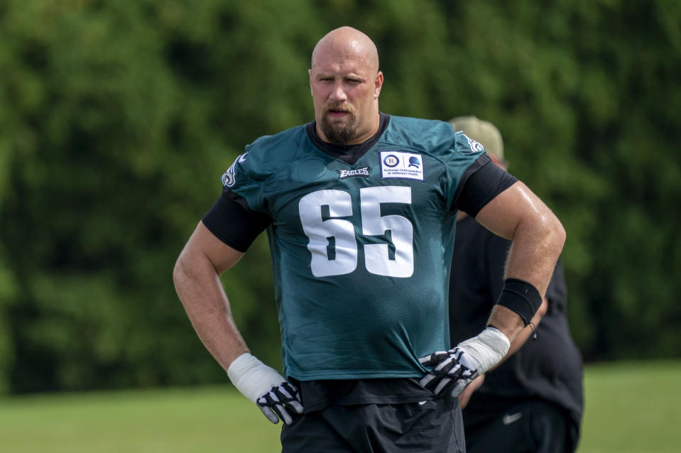 Philadelphia Eagles tackle Lane Johnson said he'll miss the rest of the season. (AP Photo/Chris Szagola, Pool)