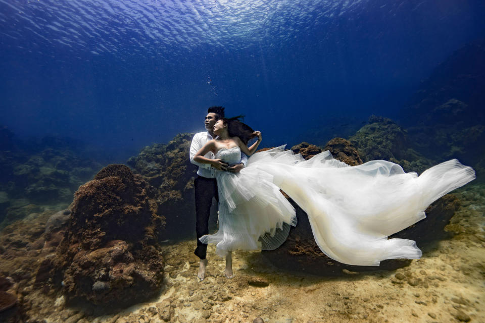 The couple posed for a series of dramatic wedding photographs [Photo: Caters]