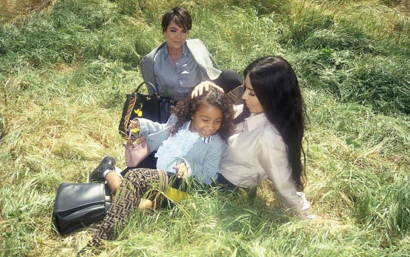 Kim Kardashian West, North West and Kris Jenner