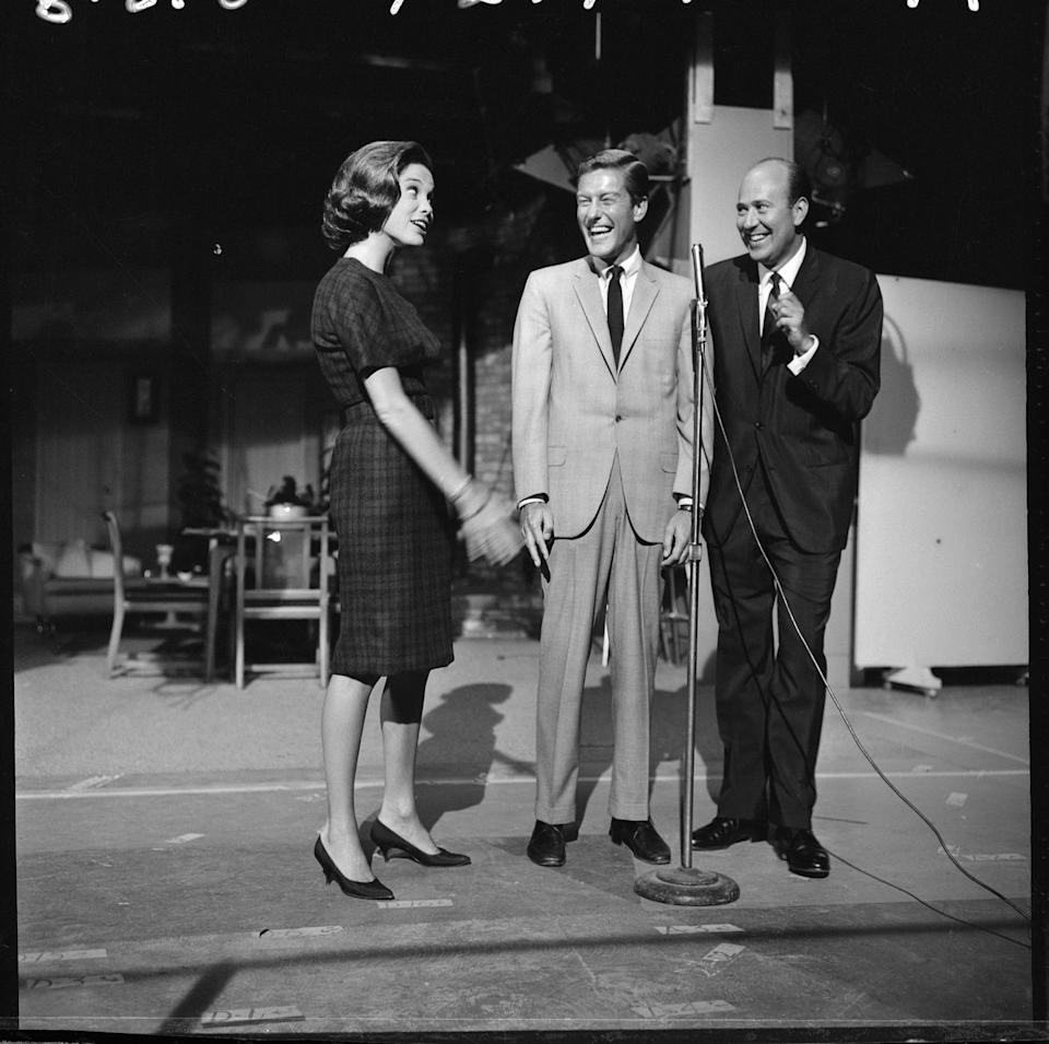 An off camera moment featuring Mary Tyler Moore; Dick Van Dyke and Carl Reiner. Image Dated August 21, 1962. Original broadcast date: October 17, 1962. (Photo by CBS via Getty Images)