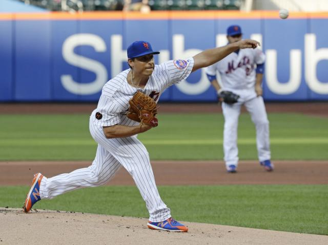 New York Mets' Jason Vargas delivers a pitch during the first inning of the team's baseball game against the Baltimore Orioles on Tuesday, June 5, 2018, in New York. (AP Photo/Frank Franklin II)