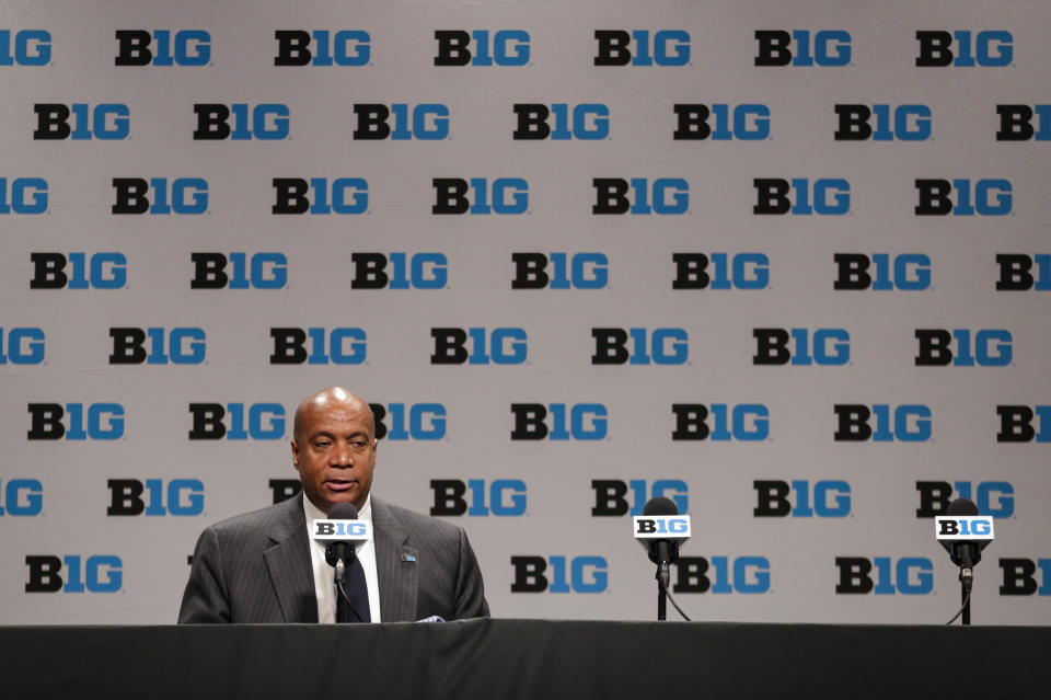 Big Ten commissioner Kevin Warren addresses the media in Indianapolis on March 12, 2020 after it was announced that the remainder of the Big Ten Conference men's basketball tournament was canceled. (AP Photo/Michael Conroy)