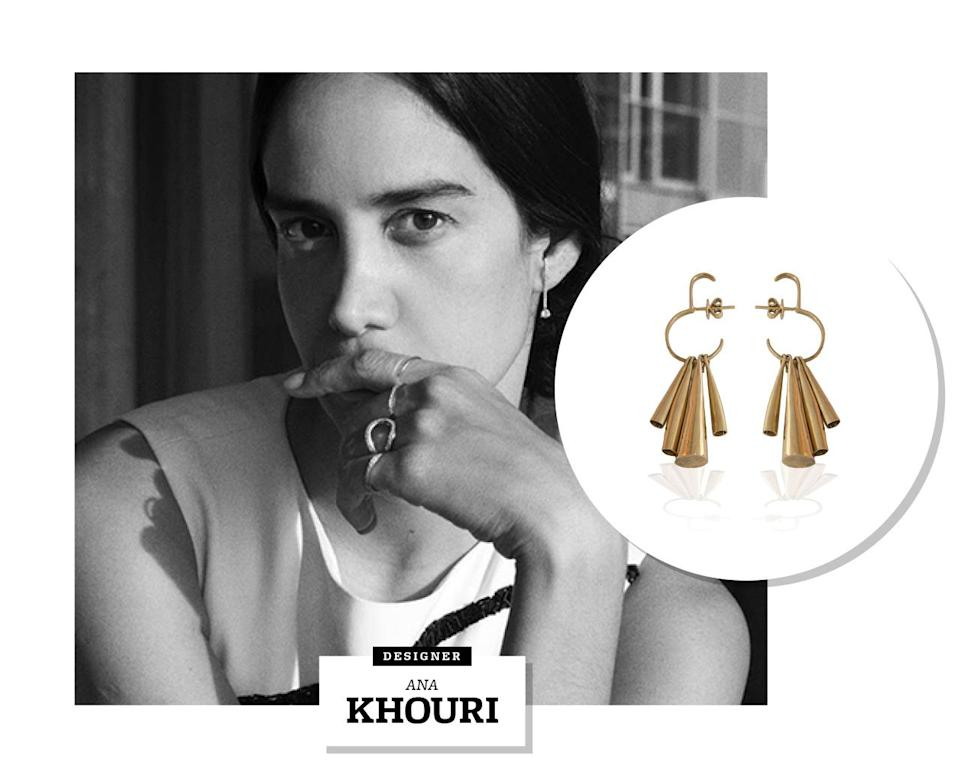 """<p>Looking through Ana Khouri's catalogue of jewelry, it's not hard to tell that she began her career as an artist. The Brazilian-born designer was first trained as a sculptor and painter, and <a rel=""""nofollow noopener"""" href=""""http://t.umblr.com/redirect?z=http%3A%2F%2Fwwd.com%2Faccessories-news%2Fjewelry%2Ften-of-tomorrow-ana-khouri-jewelry-designer-8067629%2F&t=OGE5YzRkZDg0MzI3OTcwY2IxYjMwZTAyNzJlMmY0YTdjYjA4YzM5ZSxvR1lkUjhOcA%3D%3D"""" target=""""_blank"""" data-ylk=""""slk:only became involved in the craft"""" class=""""link rapid-noclick-resp"""">only became involved in the craft</a> after a metalsmith friend suggested she hang some of her sculptures off the bodies of naked models for an art show. She went on to found her namesake line in 2001.</p><p>Her artistic background has led Khouri to create unique, inspired pieces of jewelry that frequently look more architectural and modern than traditional, despite the fact that she often works with classic materials like gold, diamonds, and pearls. It's a no-fail combo: Khouri's work is now sold at Barneys, Net-a-Porter, and Colette in Paris, and is frequently worn on the red carpet by stars like Jennifer Lawrence, Lupita Nyong'o, Rihanna, and the Olsens.</p><p>Those ear-climber earrings every young starlet, from Emma Watson to Kate Bosworth was seen rocking a couple of seasons ago? Those were all Ana Khouri. If a piece of jewelry had her name on it, you can bet it'll be thoughtful, idiosyncratic, and undeniably memorable.</p>"""