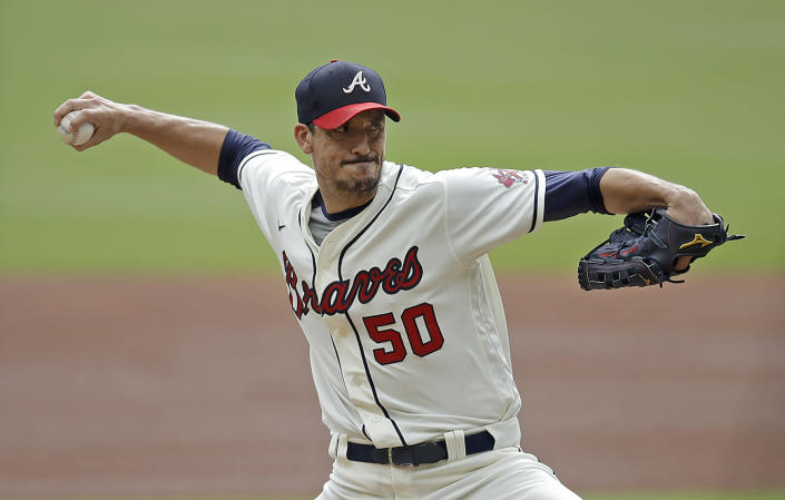 Atlanta Braves pitcher Charlie Morton works against the New York Mets in the first inning of a baseball game Sunday, Oct. 3, 2021, in Atlanta. (AP Photo/Ben Margot)