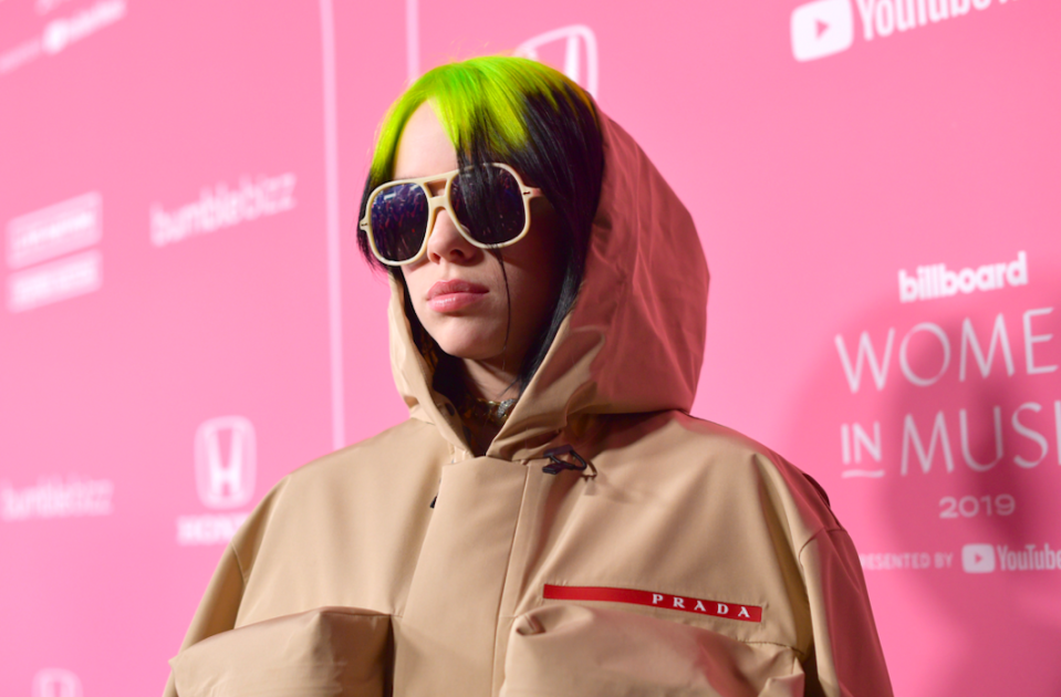 Hitting numerous top spots across the globe in 2019, it's no surprise to find Billie Eilish on this list. The teenage pop star has two American Music Awards, two Guinness World Records, three MTV Video Music Awards and has received six Grammy Award nominations. (Getty)