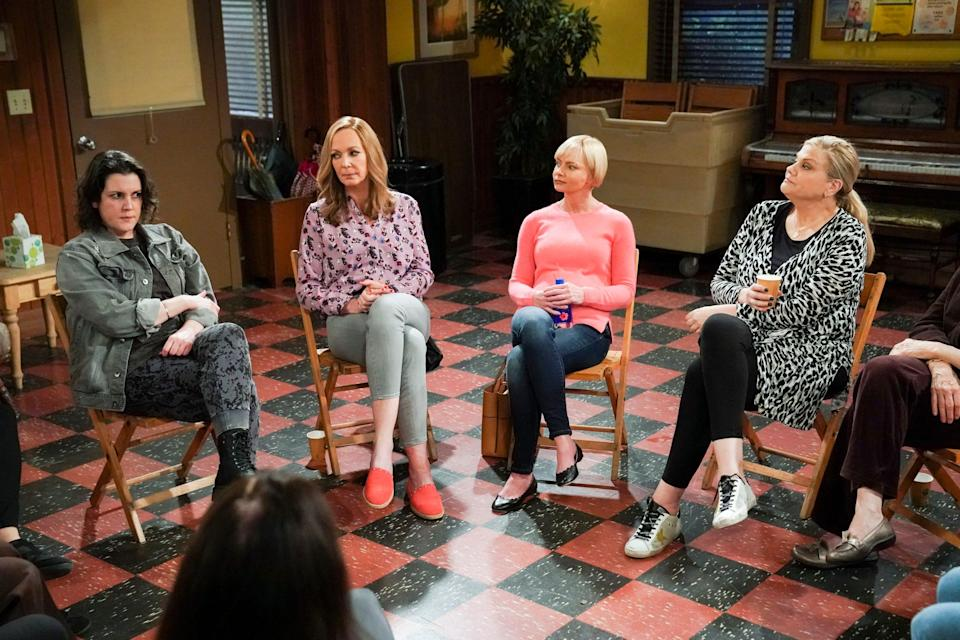 """Melanie Lynskey, left, who starred in Chuck Lorre's """"Two and a Half Men,"""" joins Allison Janney, Jaime Pressly and Kristen Johnston for the May 13 series finale of CBS' """"Mom."""""""