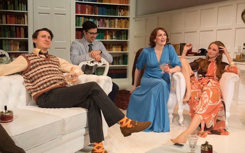 Tom Rosenthal, Simon Bird, Charlotte Ritchie and Lily Cole in The Philanthropist - Credit: Alastair Muir