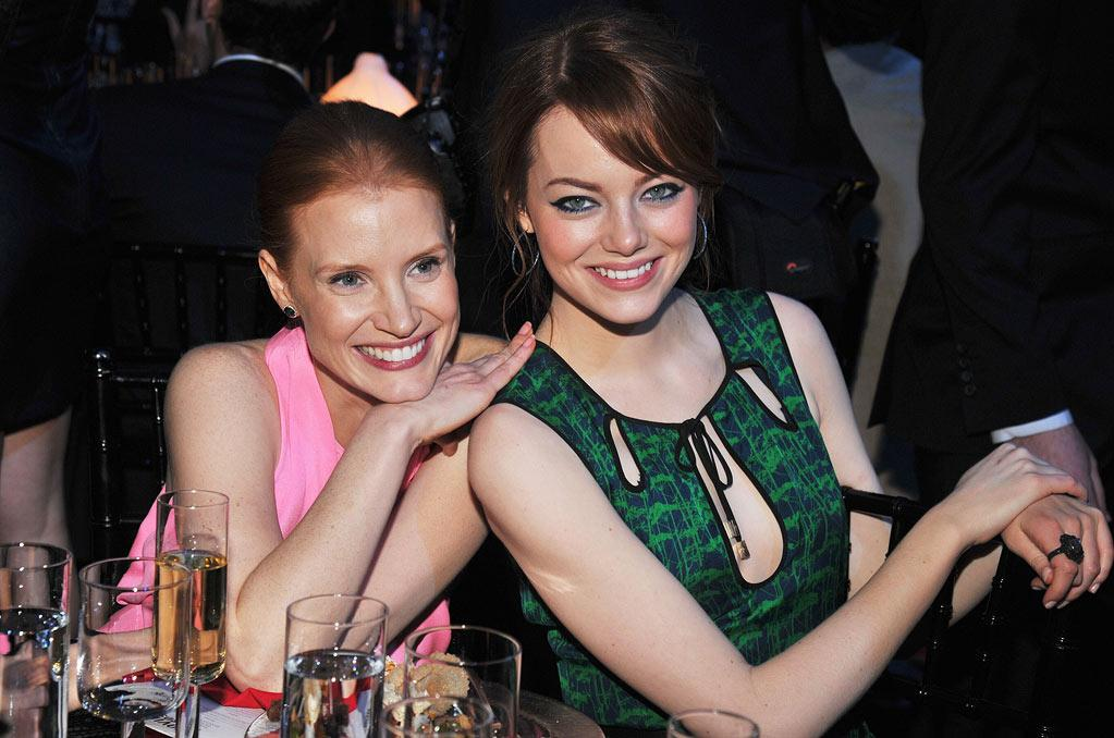 "<a href=""http://movies.yahoo.com/movie/contributor/1809669328"">Jessica Chastain</a> and <a href=""http://movies.yahoo.com/movie/contributor/1809635883"">Emma Stone</a> at the 17th Annual Critics' Choice Awards reception in Hollywood on January 12, 2012."