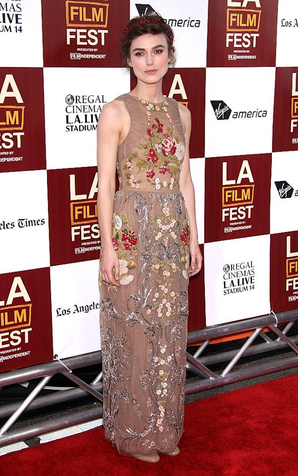"We're on the fence with this one. We don't typically dig the woodland fairy-like look -- complete with head wreath -- but somehow Keira Knightley seems to pull it off. Here she is at the L.A. Film Festival premiere of <a target=""_blank"" href=""http://movies.yahoo.com/movie/seeking-a-friend-for-the-end-of-the-world/"">""Seeking a Friend for the End of the World""</a> in a Valentino-designed dress and minimal makeup. Now, discuss! (6/18/2012)"