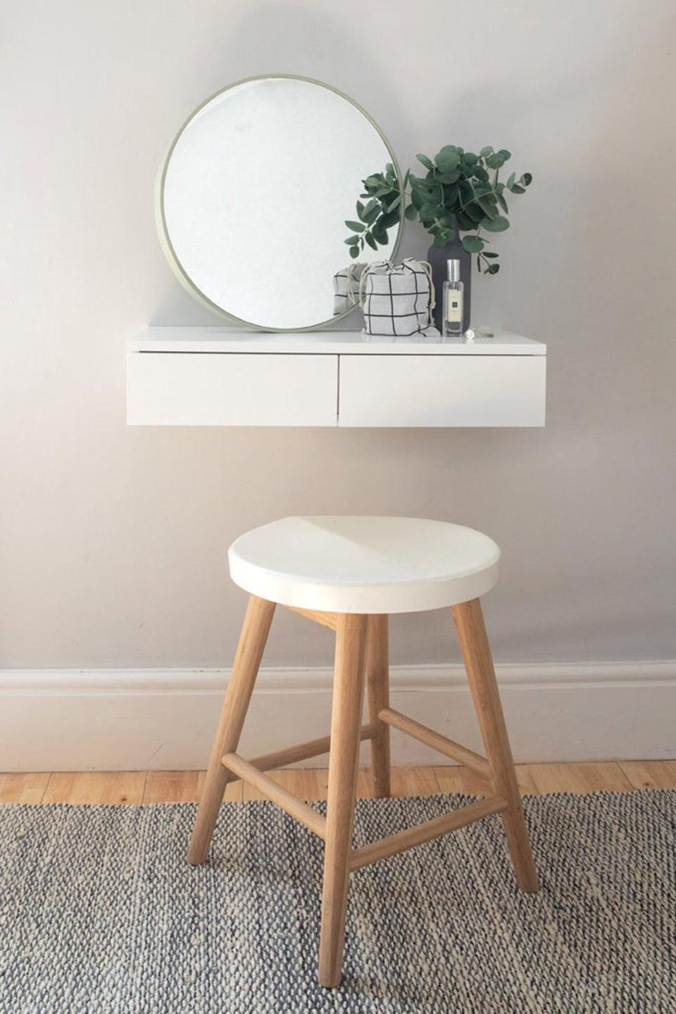 "<h3>Urbansize Small Floating Dressing Table<br></h3> <br>This Etsy shop dedicated to crafting urban-sized (aka small-space friendly) furniture solutions boasts quite the <a href=""https://www.etsy.com/shop/Urbansize"" rel=""nofollow noopener"" target=""_blank"" data-ylk=""slk:stacked lineup of incredibly stylish and minimalist floating desk setups"" class=""link rapid-noclick-resp"">stacked lineup of incredibly stylish and minimalist floating desk setups</a>. <br><br><strong>Urbansize</strong> Small Floating Dressing Table White, $, available at <a href=""https://go.skimresources.com/?id=30283X879131&url=https%3A%2F%2Fwww.etsy.com%2Flisting%2F718170427%2Fsmall-floating-dressing-table-white"" rel=""nofollow noopener"" target=""_blank"" data-ylk=""slk:Etsy"" class=""link rapid-noclick-resp"">Etsy</a>"
