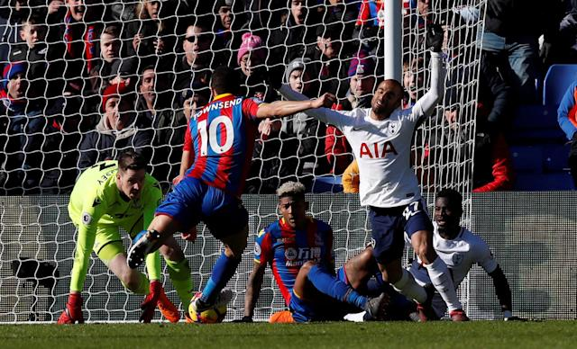 "Soccer Football - Premier League - Crystal Palace vs Tottenham Hotspur - Selhurst Park, London, Britain - February 25, 2018 Tottenham's Lucas Moura and Serge Aurier in action with Crystal Palace's Andros Townsend, Patrick van Aanholt and Wayne Hennessey REUTERS/Eddie Keogh EDITORIAL USE ONLY. No use with unauthorized audio, video, data, fixture lists, club/league logos or ""live"" services. Online in-match use limited to 75 images, no video emulation. No use in betting, games or single club/league/player publications. Please contact your account representative for further details."