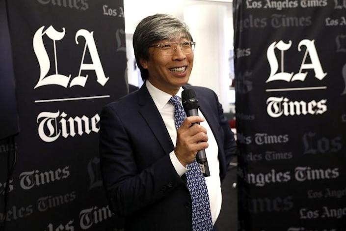 LOS ANGELES, CA-JUNE 18, 2018: Dr. Patrick Soon- Shiong, executive chairman for the Times and the California News Group, addresses the staff of the Los Angeles Times during a town hall meeting inside the newsroom on June 18, 2018. (Mel Melcon/Los Angeles Times)