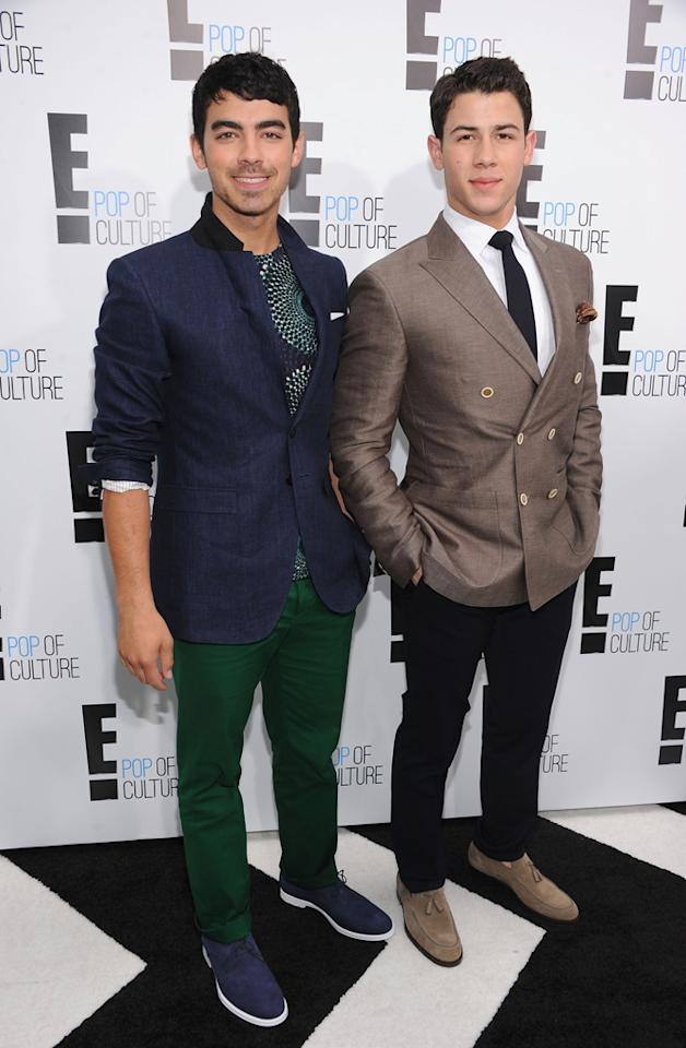 Joe Jonas and Nick Jonas attend E!'s 2012 Upfront event at Gotham Hall on April 30, 2012 in New York City.
