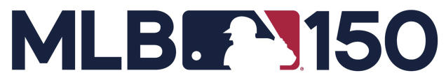 This logo provided by Major League Baseball shows the league's 150 anniversary logo. Major League Baseball's 150th anniversary logo features the silhouetted batter created to celebrate the century mark of the first professional baseball team in 1969. MLB released the design Tuesday, Feb. 12, 2019, and players, managers and coaches will have a patch on their right sleeves. (MLB via AP)