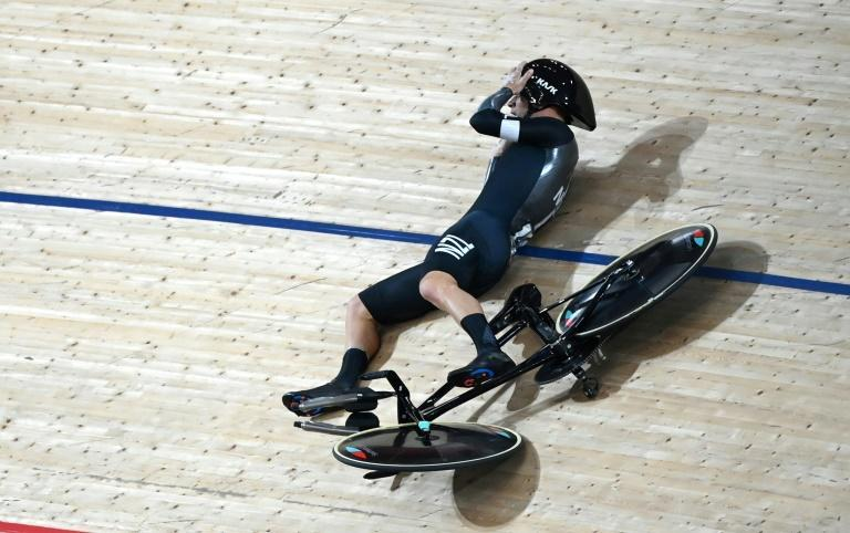 New Zealand's Aaron Gate crashed during the race for bronze against Australia