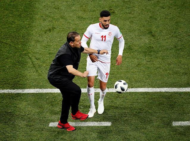 Soccer Football - World Cup - Group G - Tunisia vs England - Volgograd Arena, Volgograd, Russia - June 18, 2018 Tunisia coach Nabil Maaloul and Tunisia's Dylan Bronn REUTERS/Gleb Garanich