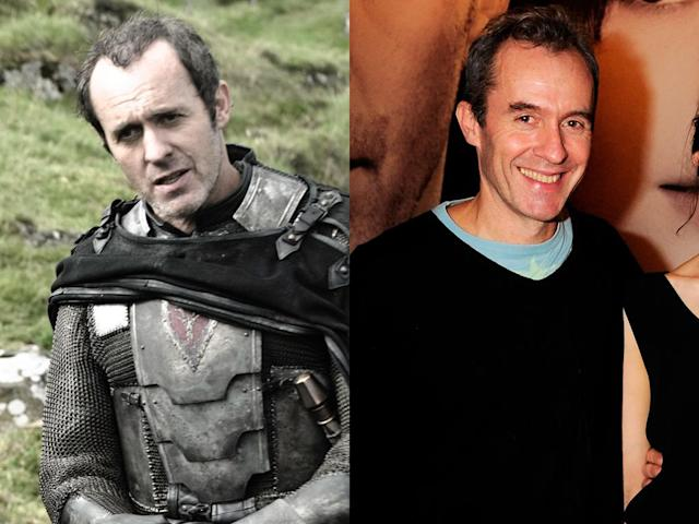 "<b>Stephen Dillane (Stannis Baratheon)<br><br></b>As Iron Throne contender Stannis Baratheon, Dillane looks a lot more grim than he does in real life. (That armor must weigh a ton.) And this isn't his first time dabbling in the medieval genre; the actor played Merlin in the 2004 Keira Knightley film, ""King Arthur."""