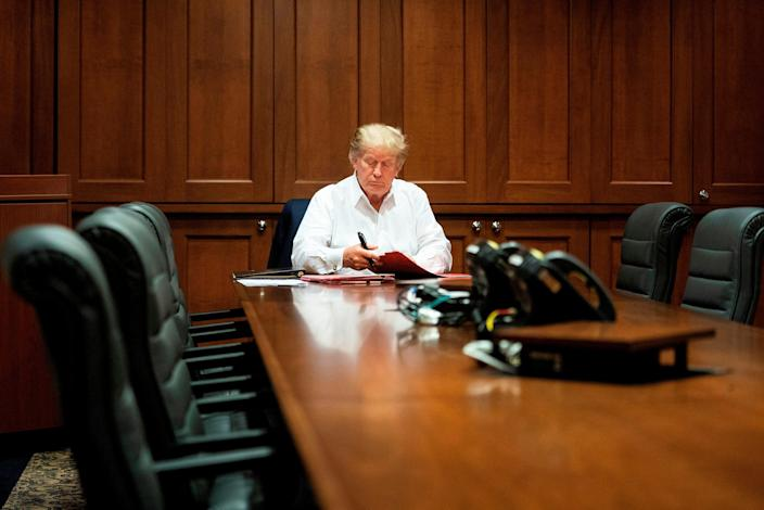 President Donald Trump on Oct. 3, 2020, at Walter Reed National Military Medical Center in Bethesda, Maryland.