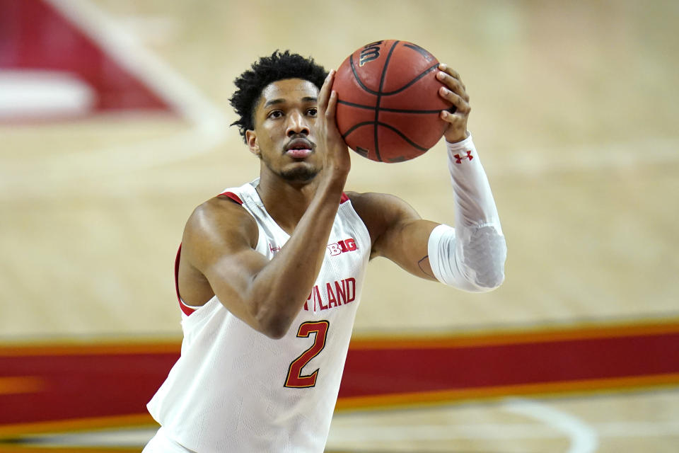 Maryland guard Aaron Wiggins shoots a free throw against St. Peter's during the first half of an NCAA college basketball game, Friday, Dec. 4, 2020, in College Park, Md. (AP Photo/Julio Cortez)