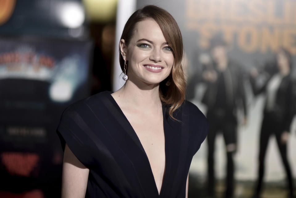 """Emma Stone attends the Los Angeles premiere of """"Zombieland: Double Tap"""" at Regency Village Theatre on Thursday, Oct. 10, 2019, in Los Angeles. (Photo by Richard Shotwell/Invision/AP)"""