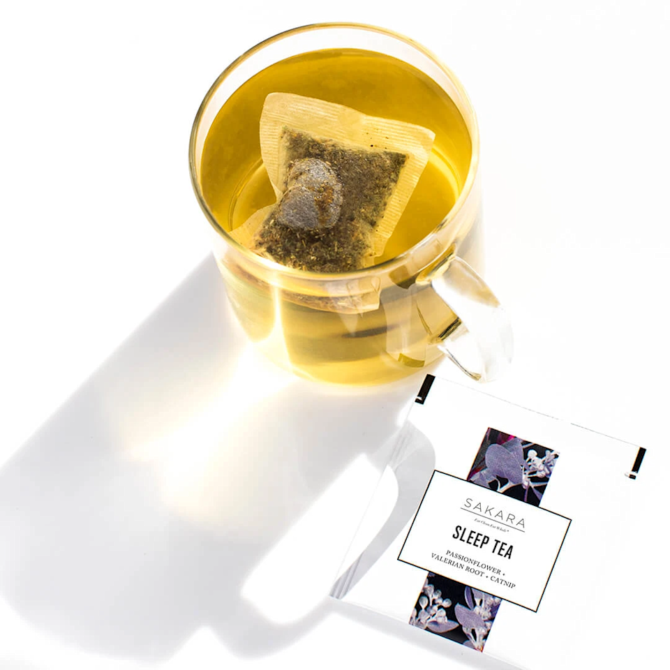 """<h3>Sakara Sleep Tea</h3><br><strong>What it is:</strong> An herbal bedtime tea.<br><br><strong>What it's supposed to do:</strong> This chamomile and lavender sleep tea contains catnip, valerian root, and passionflower — all of which is meant to help encourage relaxation, lower anxiety, and help you fall asleep faster.<br><br><em>Shop <a href=""""https://www.sakara.com/collections/clean-boutique"""" rel=""""nofollow noopener"""" target=""""_blank"""" data-ylk=""""slk:Sakara"""" class=""""link rapid-noclick-resp""""><strong>Sakara</strong></a></em><br><br><strong>Sakara</strong> Sleep Tea, $, available at <a href=""""https://go.skimresources.com/?id=30283X879131&url=https%3A%2F%2Fwww.sakara.com%2Fcollections%2Fclean-boutique%2Fproducts%2Fsleep-tea"""" rel=""""nofollow noopener"""" target=""""_blank"""" data-ylk=""""slk:Sakara"""" class=""""link rapid-noclick-resp"""">Sakara</a>"""