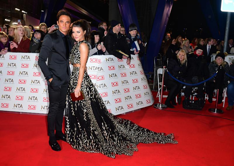 Faye Brookes and Gareth Gates arriving at the National Television Awards 2017, held at The O2 Arena, London. PRESS ASSOCIATION Photo. Picture date: 25th January, 2017. See PA Story SHOWBIZ NTAs. Photo credit should read: Ian West/PA Wire (Photo by Ian West/PA Images via Getty Images)