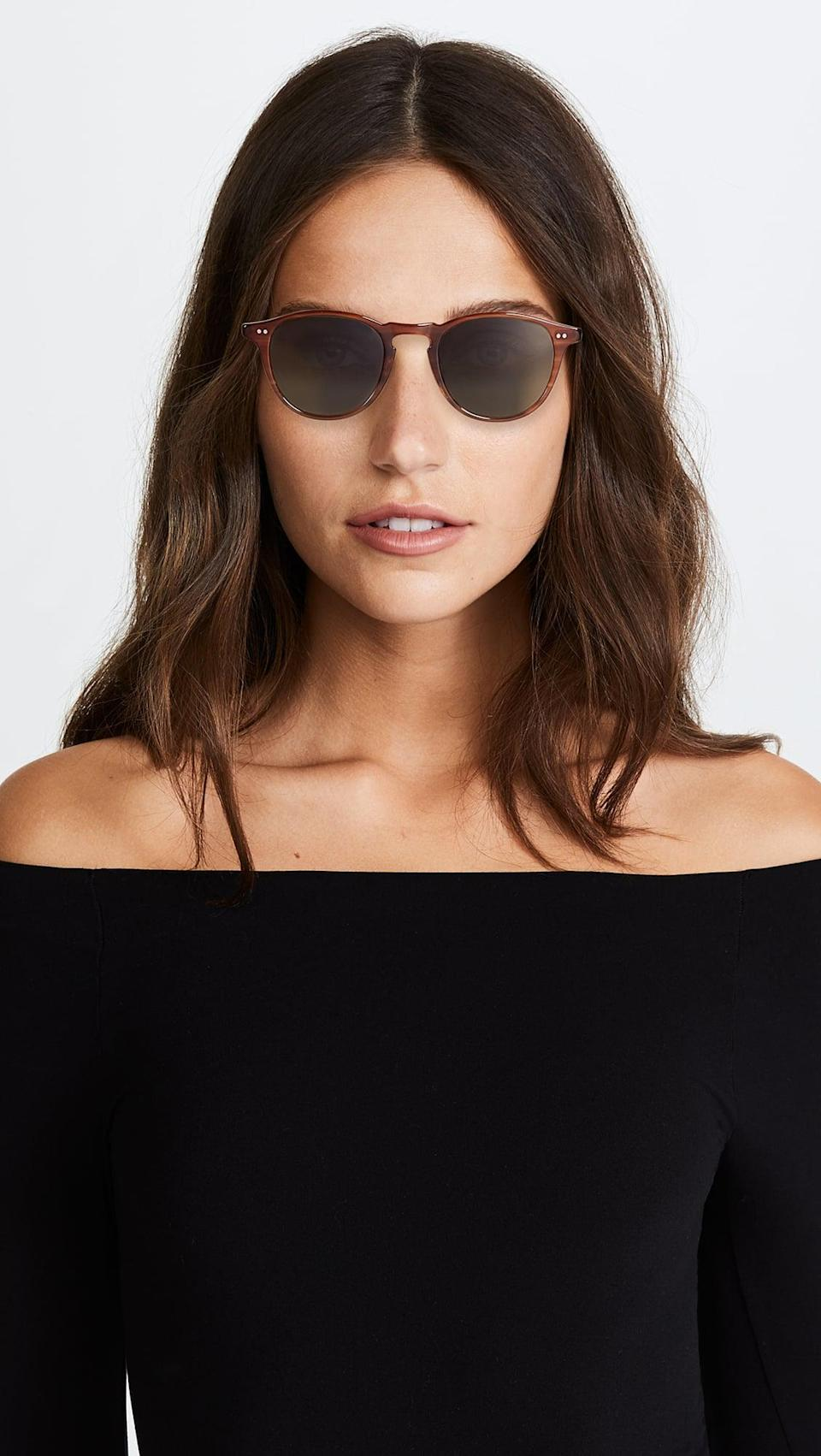 <p>We love Garrett Leight's timeless yet modern styles, and these <span>Garrett Leight Hampton Polar Sunglasses</span> ($420) are constant favorites. The light brown frames paired with the green lenses are so chic.</p>