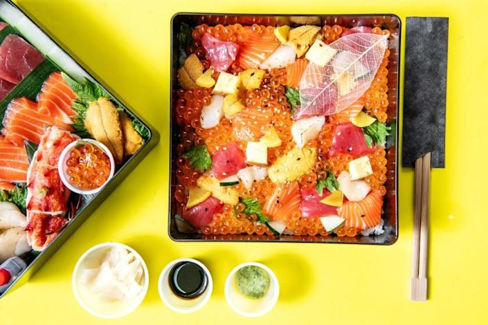 "Two-layer bento from Nan Yimcharoen's takeout operation Kinkan. <span class=""copyright"">(Mariah Tauger/Los Angeles Times)</span>"