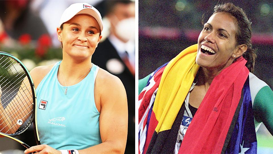 Ash Barty (pictured left) smiling after a match and (pictured right) Cathy Freeman after winning a gold medal.