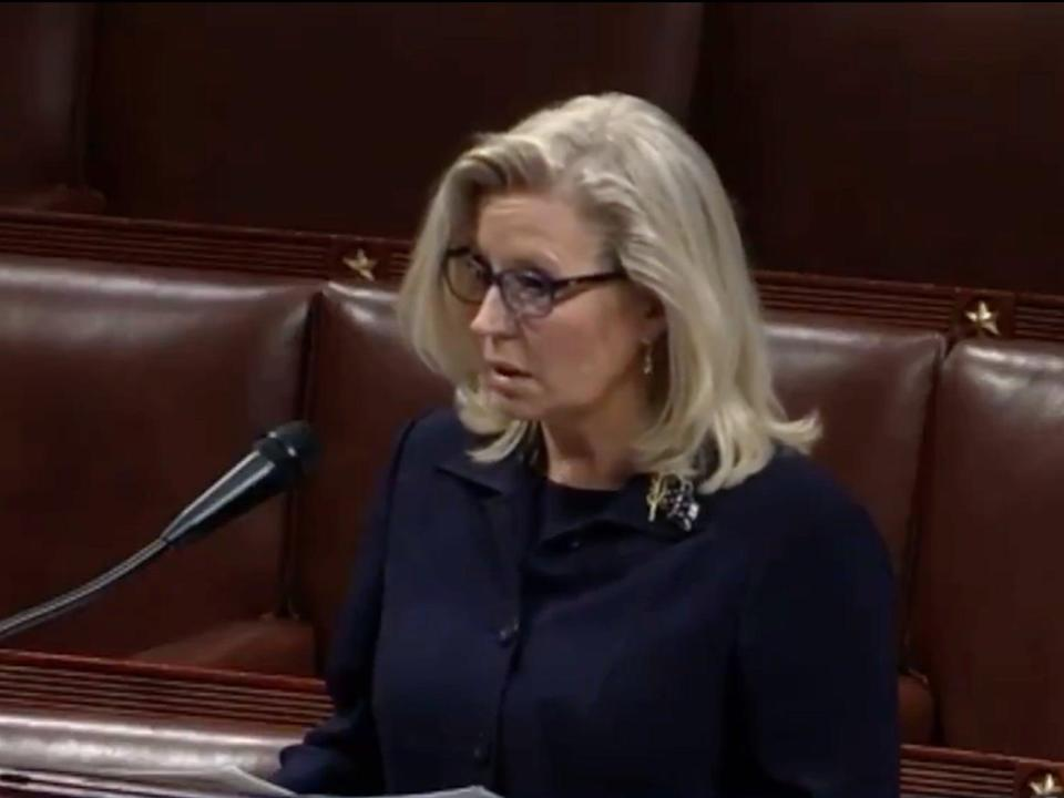 Liz Cheney speaks out against Donald Trump on the floor of the House of Representatives on the eve of a vote to remove her as chair of the Republican conference (CSPAN)