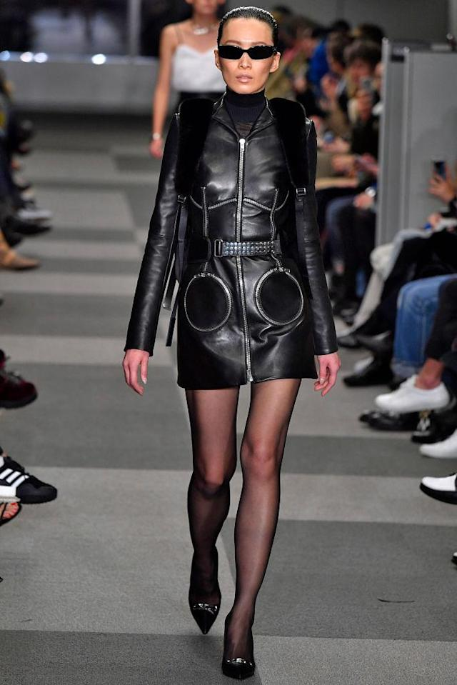<p>Model walks in the Alexander Wang FW18 show wearing black sunglasses made in collaboration with Gentle Monster. (Photo: Getty) </p>