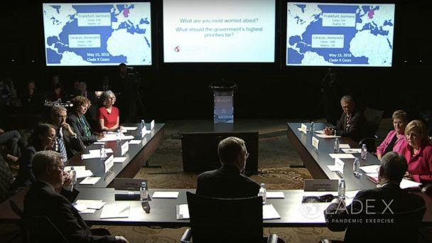 PHOTO: Current and former government officials participate in the Center for Health Security's 'Clade X' exercise, May 15, 2018. (Center for Health Security via YouTube, FILE)